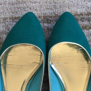 Shoes - Green, gold and purple flats
